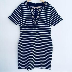 • michael kors navy + white striped dress medium •